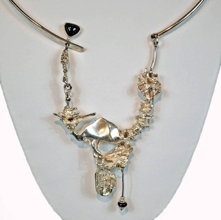 Modern Regine and Frank Juhls Designer Free-Form Sterling Silver Necklace, Vintage For Sale