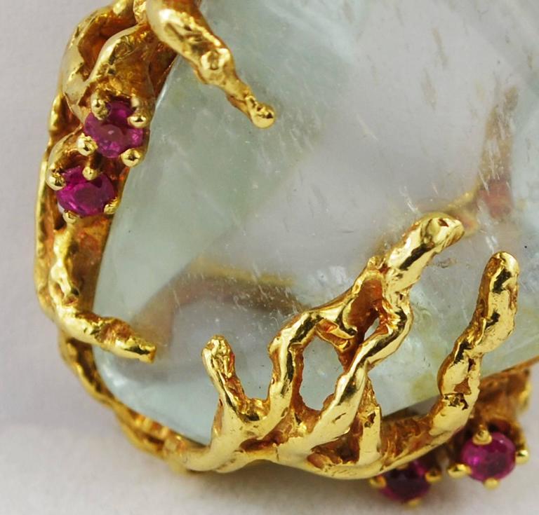 Arthur King Ruby Quartz 18K Gold Free Form Pendant Vintage For Sale 2