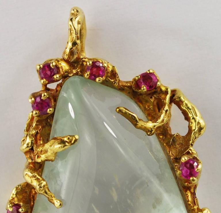 Arthur King Ruby Quartz 18K Gold Free Form Pendant Vintage For Sale 3