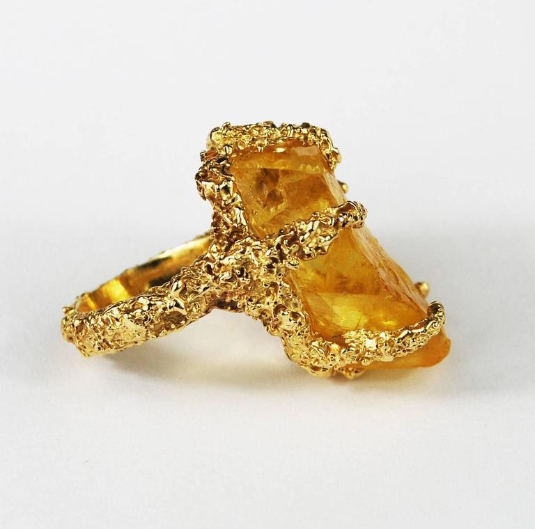 dd9f5d631f758 Abstract Raw Citrine Crystal Cocktail Ring, 14 Karat Gold, circa 1960