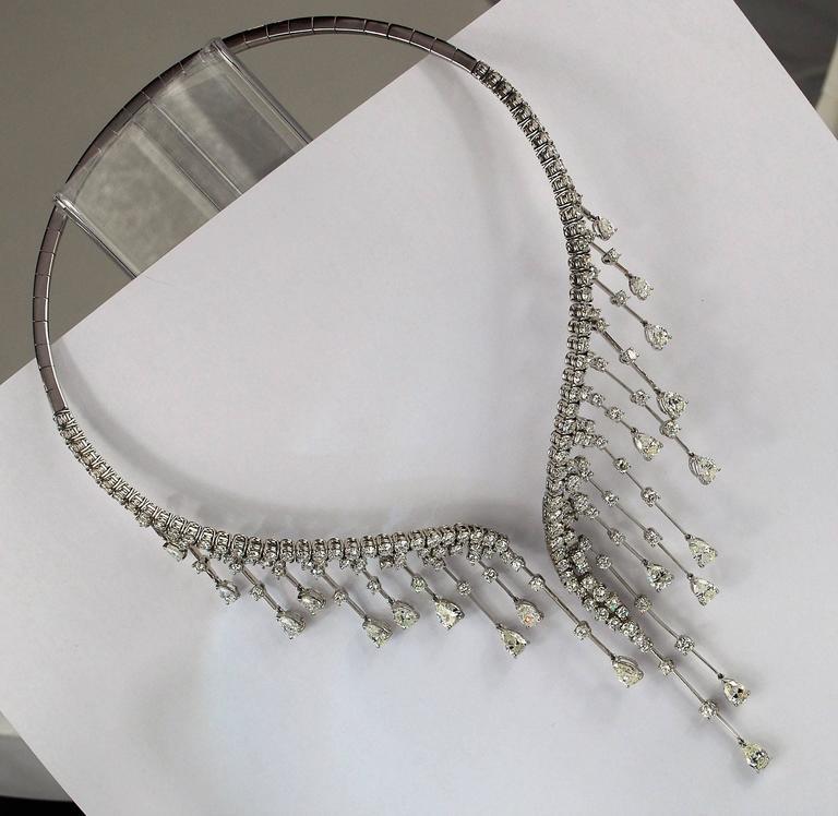 Stefan Hafner Diamond White Gold Waterfall Necklace Italian 3
