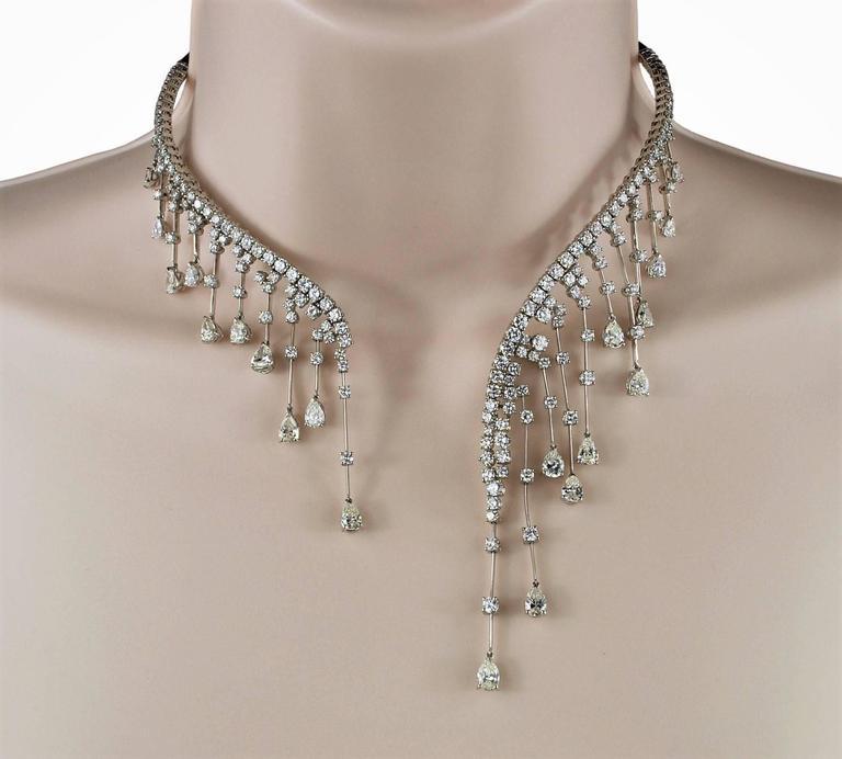 Stefan Hafner Diamond White Gold Waterfall Necklace Italian 8