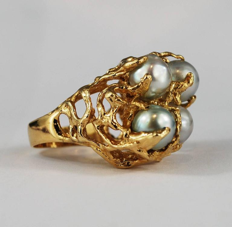 Large Baroque Pearl 14K Gold Cocktail Ring Free Form ...