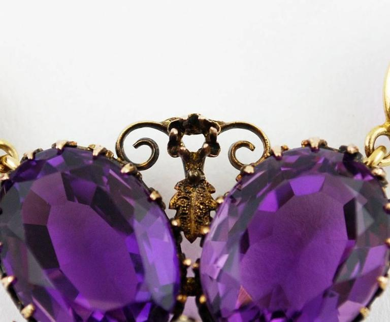 Women's or Men's Antique Amethyst Gold Necklace Flower, circa 1900 For Sale
