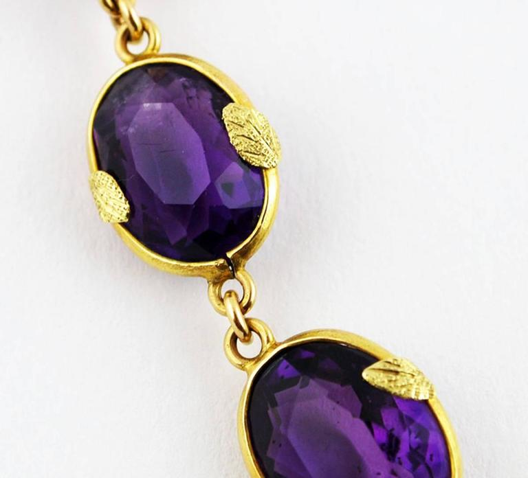 Antique Amethyst Gold Necklace Flower, circa 1900 For Sale 2