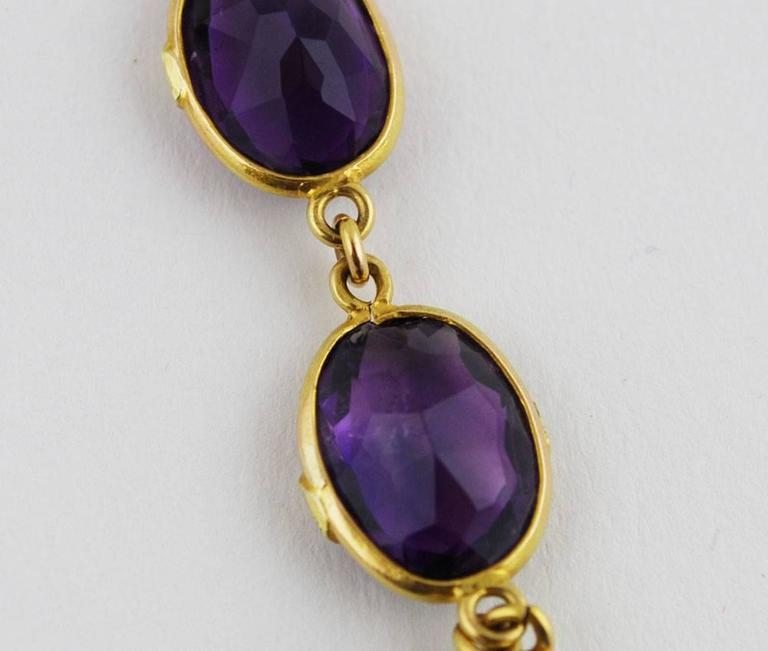 Antique Amethyst Gold Necklace Flower, circa 1900 For Sale 3