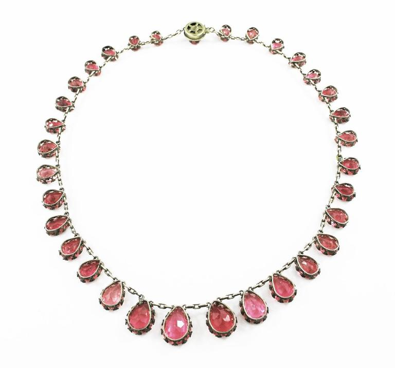 Natural Pink Tourmaline Riviere Necklace Antique  2