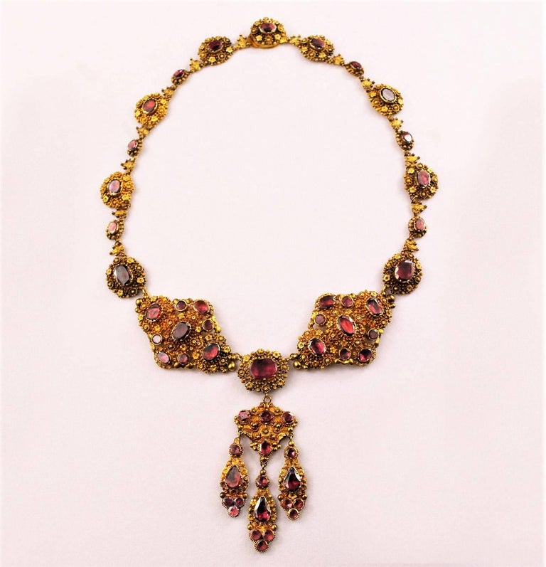 Antique Georgian 18K Gold Garnet Necklace Chandelier Earrings Brooch Set  2