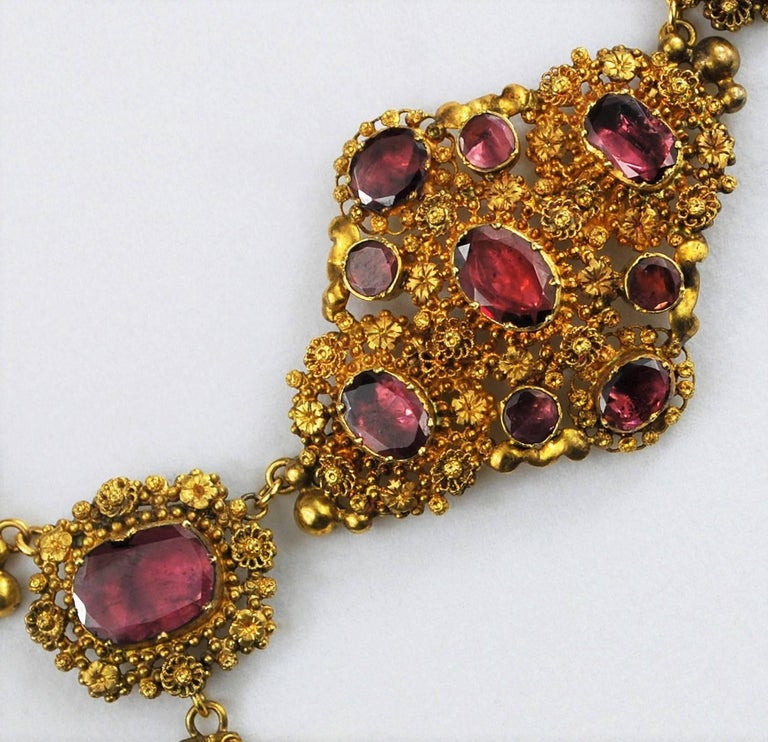 Antique Georgian 18K Gold Garnet Necklace Chandelier Earrings Brooch Set  6