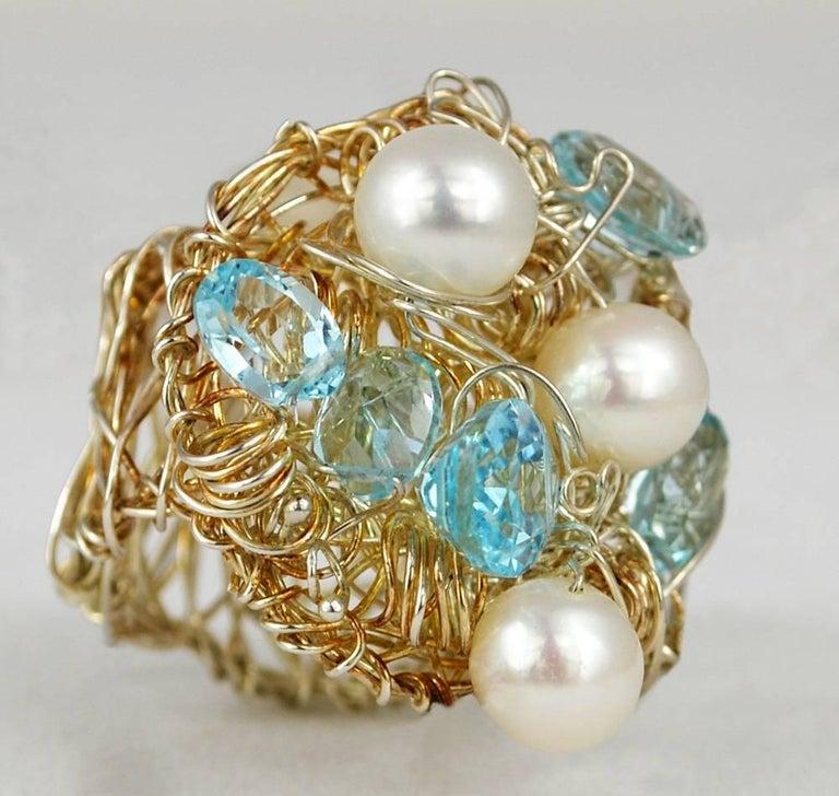 Nikki Feldbaum Sedacca Pearl Aquamarine Necklace Ring Set In Excellent Condition For Sale In Austin, TX