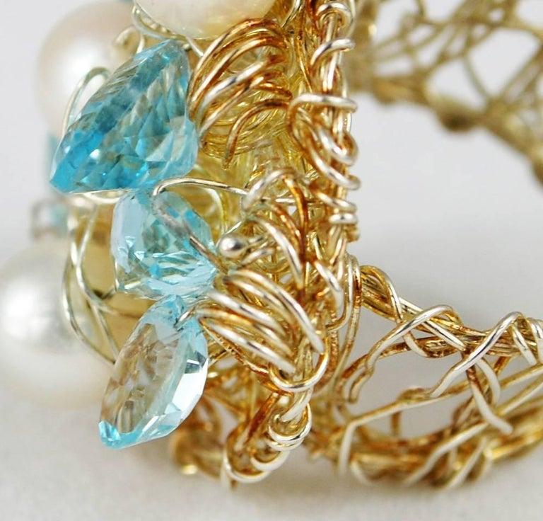 Women's or Men's Nikki Feldbaum Sedacca Pearl Aquamarine Necklace Ring Set For Sale