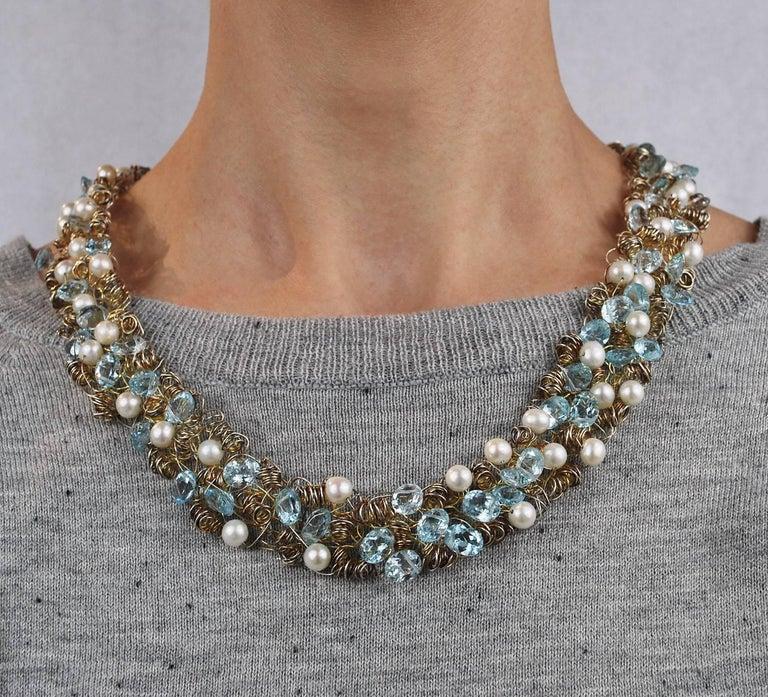 Nikki Feldbaum Sedacca Pearl Aquamarine Necklace Ring Set 5
