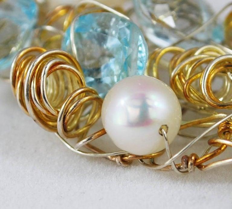Nikki Feldbaum Sedacca Pearl Aquamarine Necklace Ring Set 6
