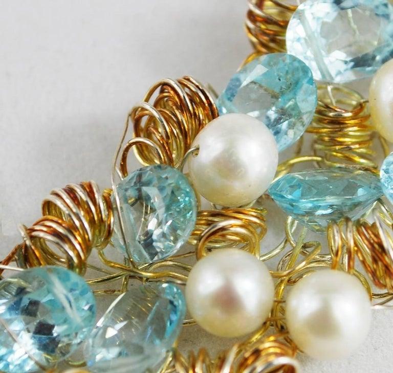 Nikki Feldbaum Sedacca Pearl Aquamarine Necklace Ring Set For Sale 2