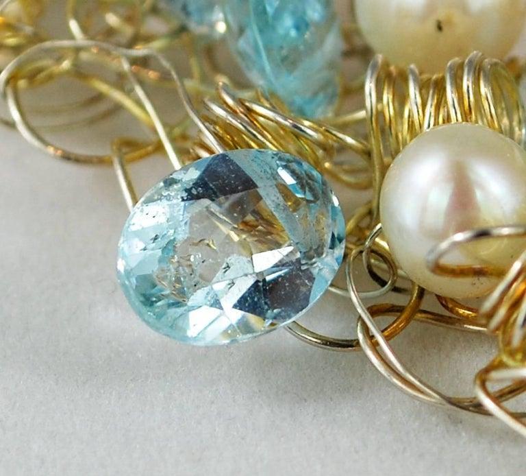 Nikki Feldbaum Sedacca Pearl Aquamarine Necklace Ring Set For Sale 3