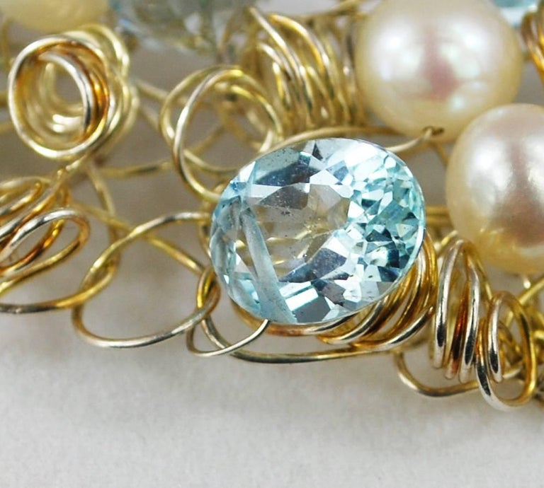 Nikki Feldbaum Sedacca Pearl Aquamarine Necklace Ring Set For Sale 4