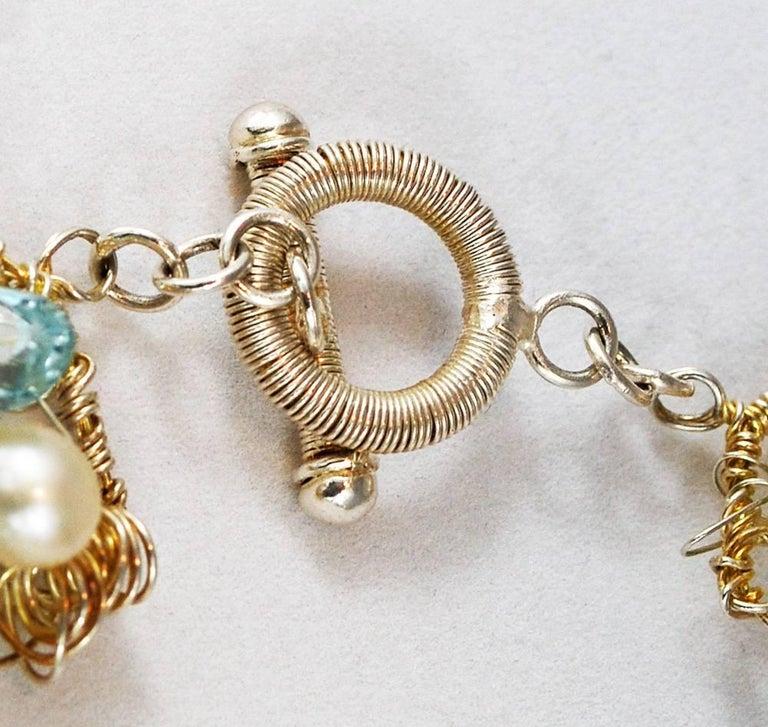 Nikki Feldbaum Sedacca Pearl Aquamarine Necklace Ring Set For Sale 5