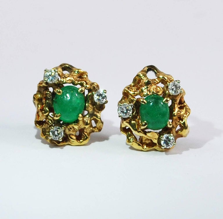 vintage free form emerald gold ring earrings set
