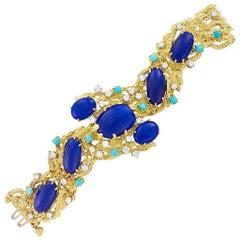 Peter Lindeman 18K Gold Vintage Bracelet in Lapis Lazuli, Diamond and Turquoise