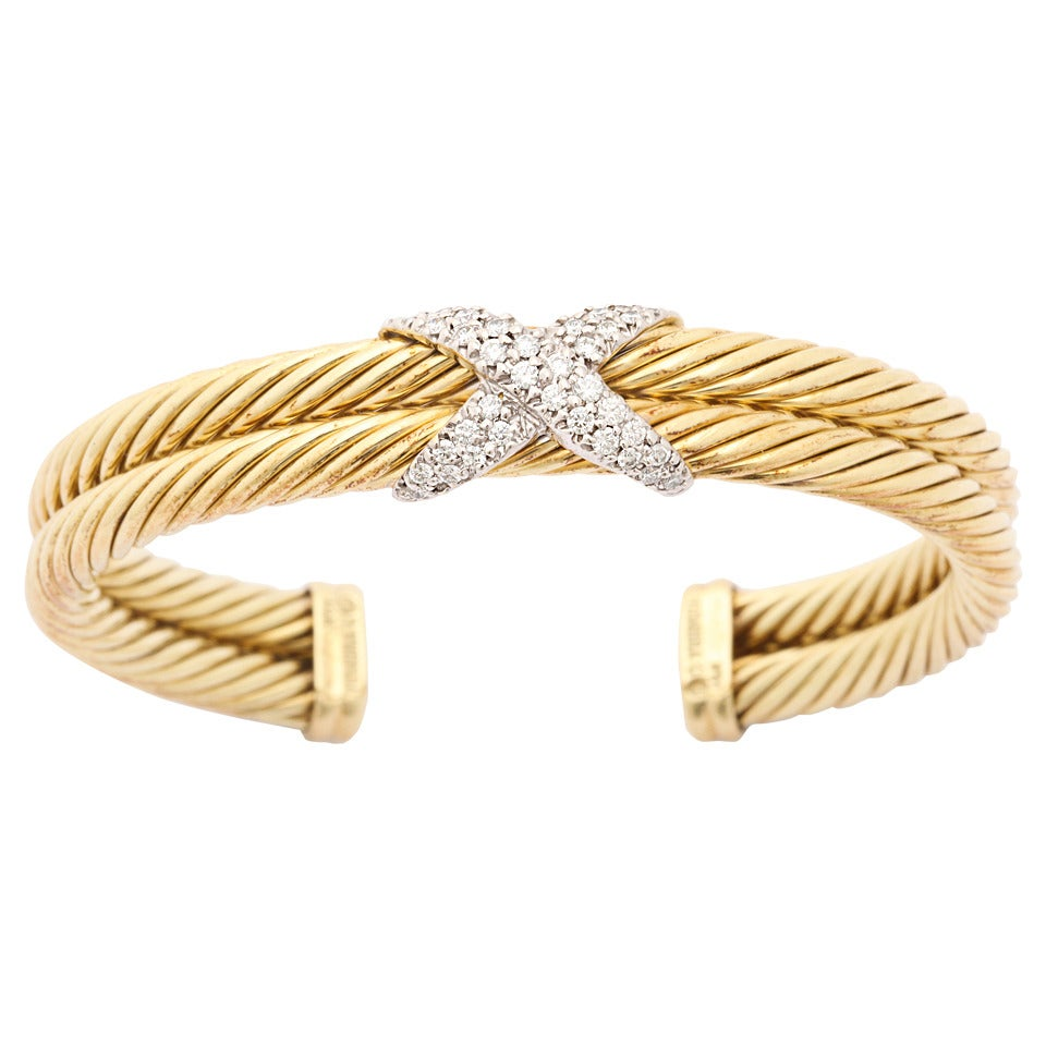 1990s david yurman two row cable diamond x bracelet at 1stdibs for David yurman like bracelets