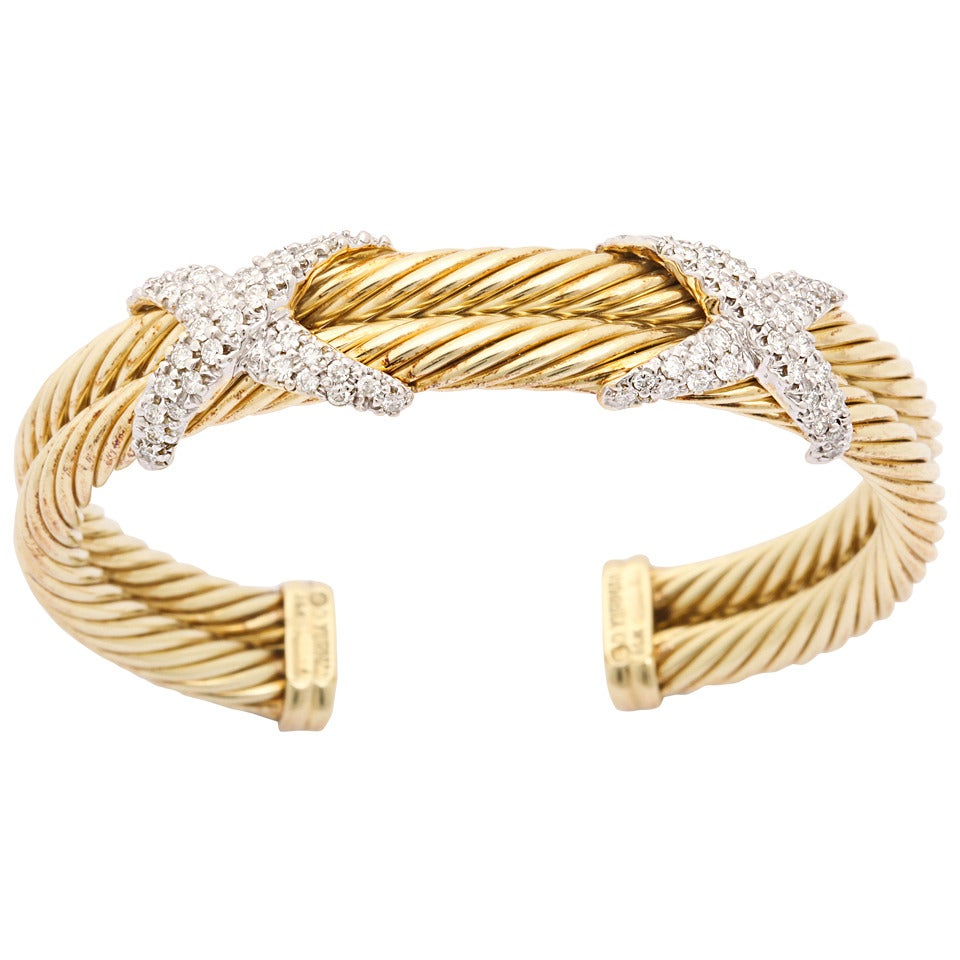 1990s david yurman two row diamond gold cable bracelet at for David yurman like bracelets