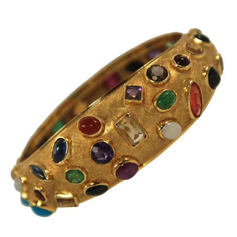 Mid Century Multi Gem Stone Gold Bangle Bracelet At 1stdibs