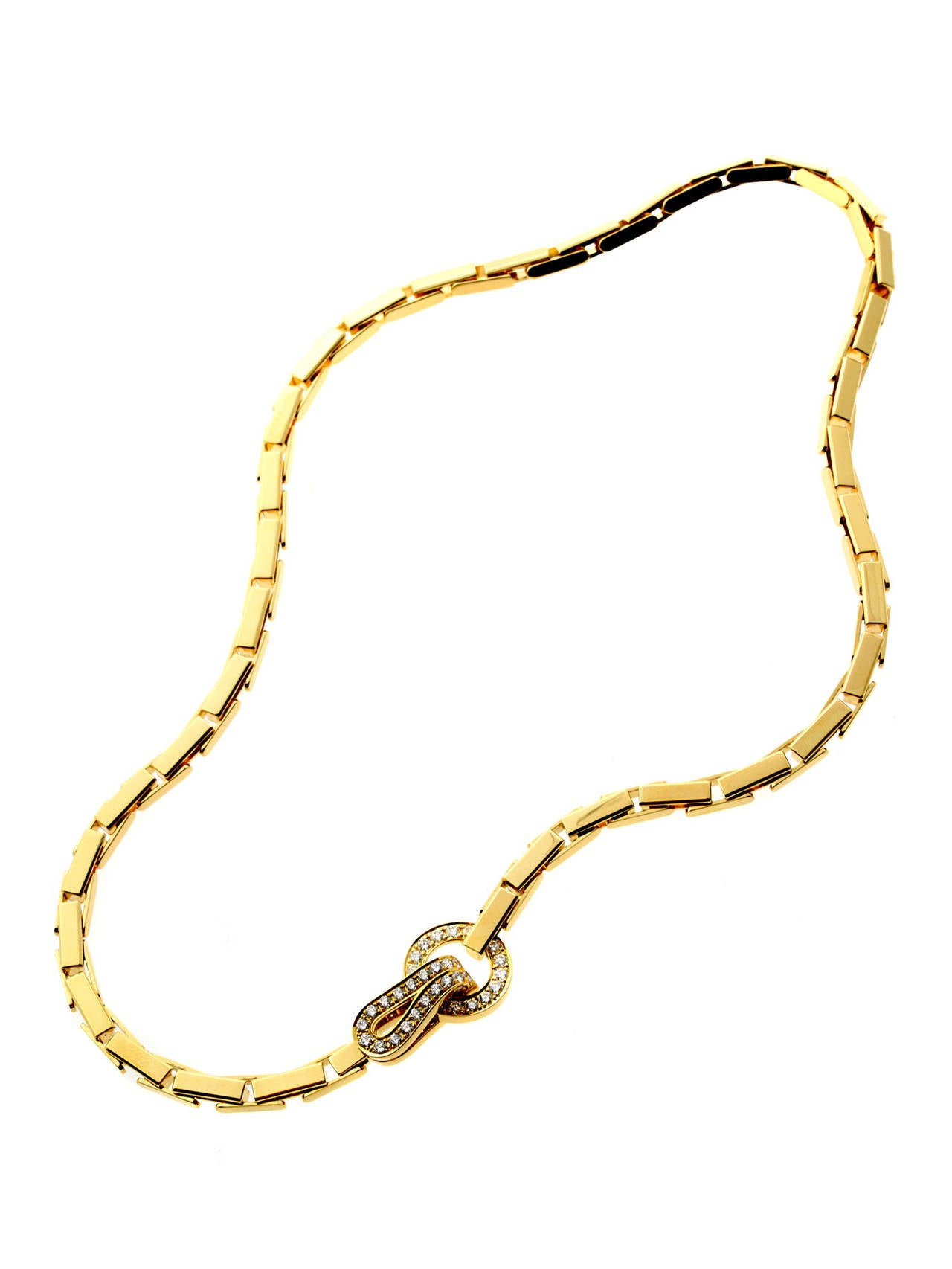 Women's Cartier Agrafe Diamond Gold Necklace For Sale