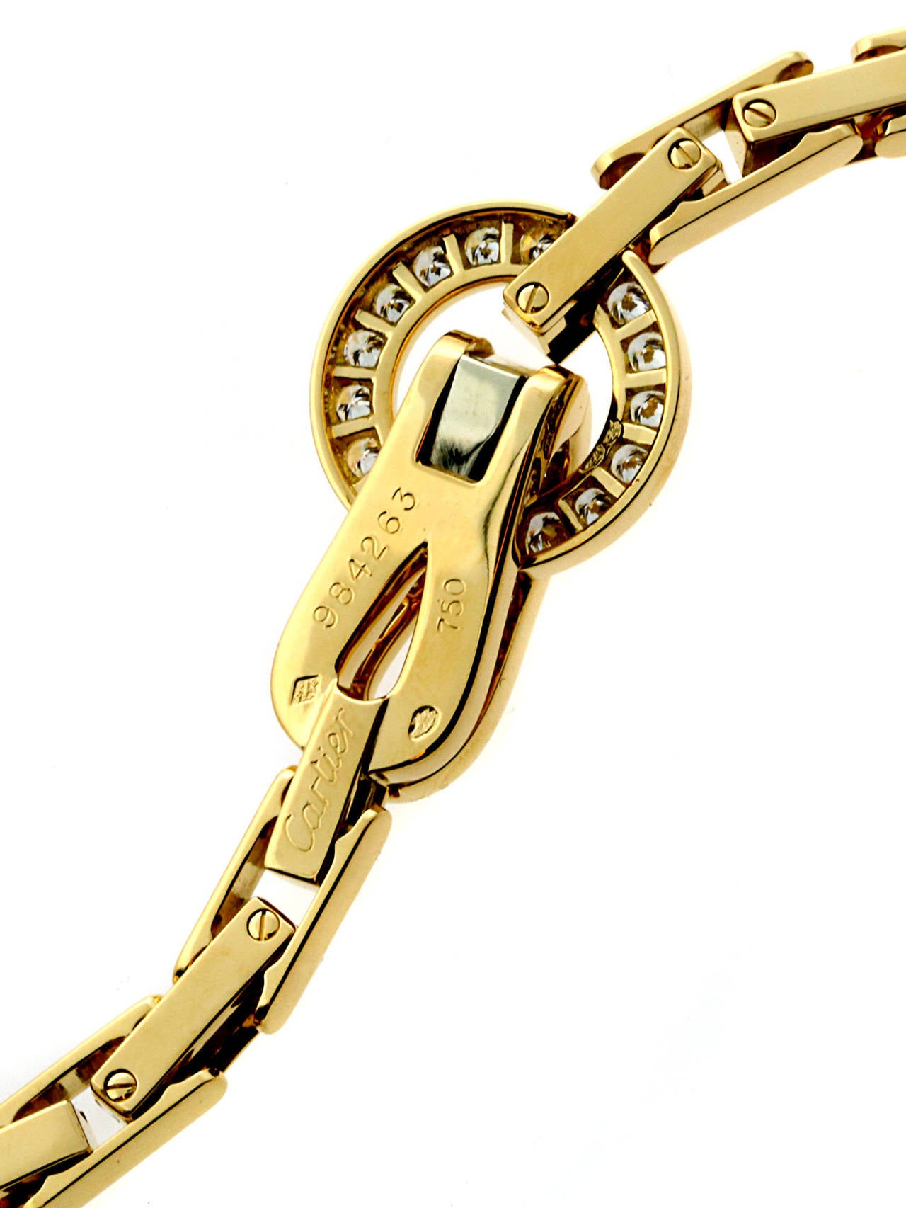 Cartier Agrafe Diamond Gold Necklace For Sale 1