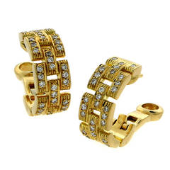 Cartier Panthere Diamond Gold Earrings