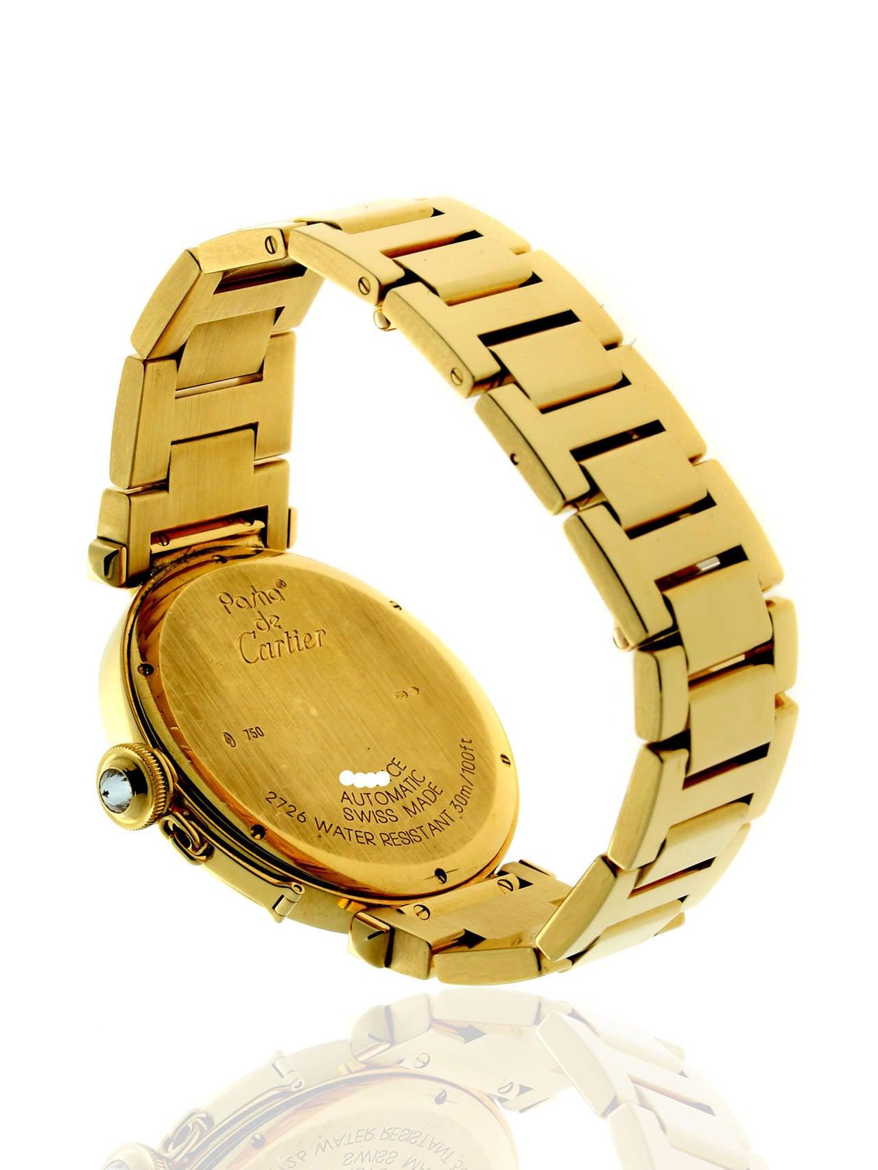 Cartier Yellow Gold Diamond Pasha Wristwatch at 1stdibs