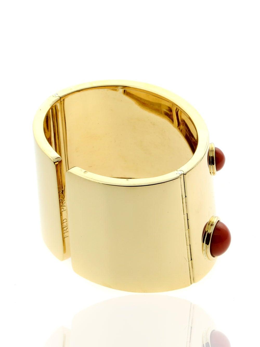 Fred of Paris Coral Gold Arm Cuff Bracelet  4
