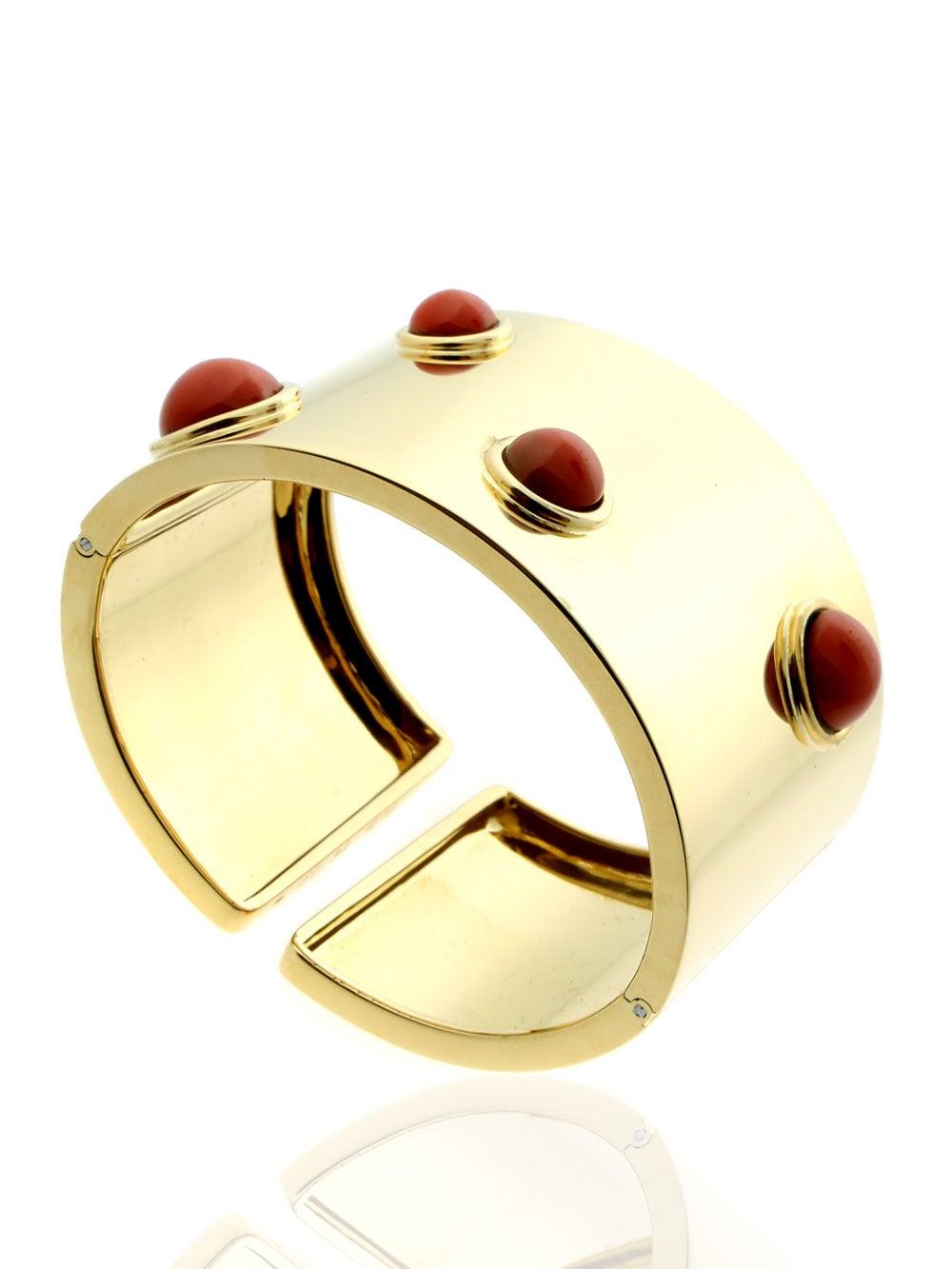 Fred of Paris Coral Gold Arm Cuff Bracelet  6