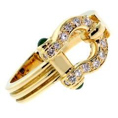 Van Cleef & Arpels Cabochon Emerald Diamond Gold Ring