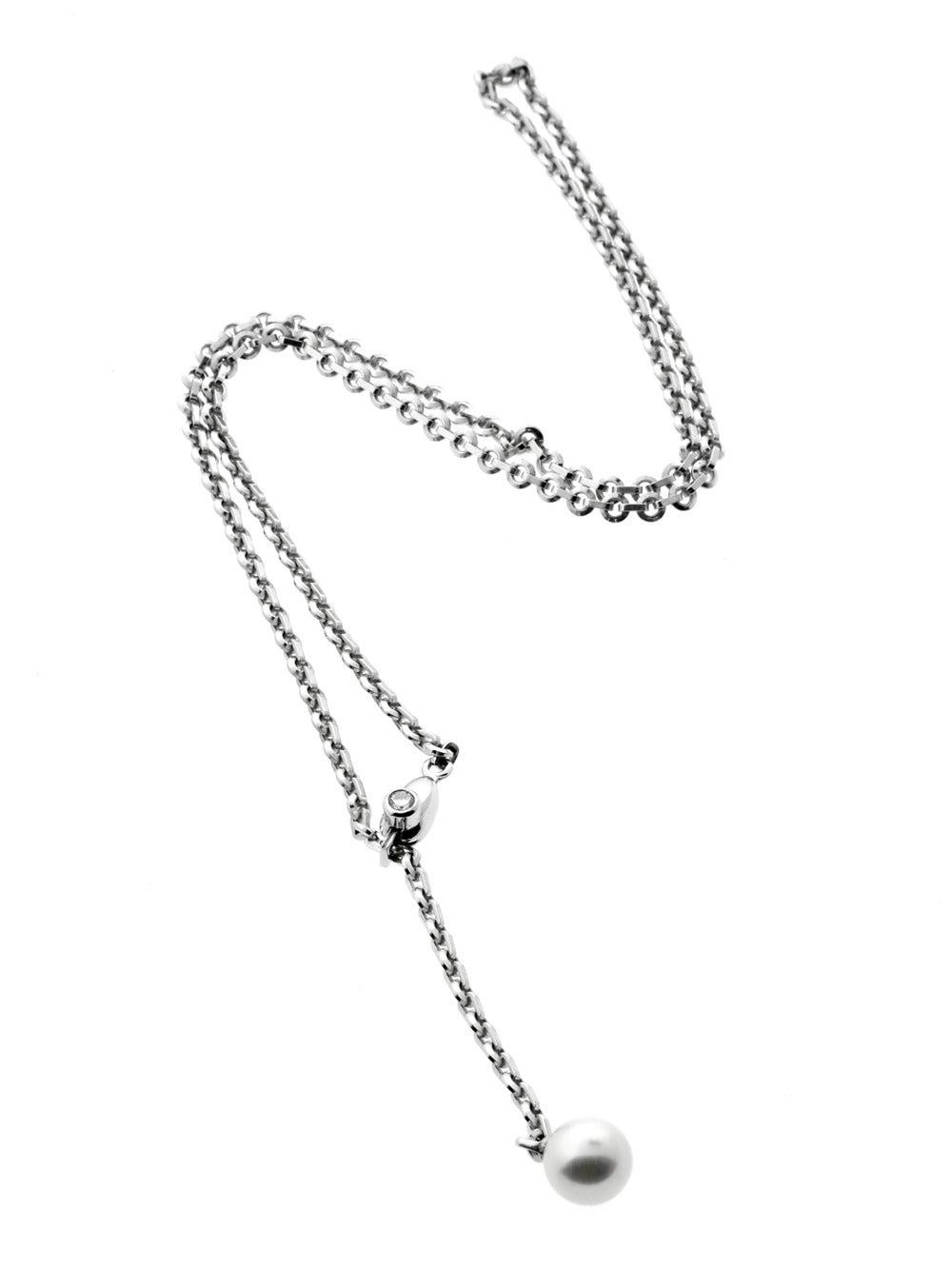 0cfa15bd449b2 Cartier Pearl Diamond Gold Lariat Necklace