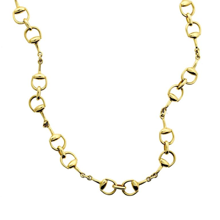 5662853f6 Gucci Gold Horsebit Necklace at 1stdibs