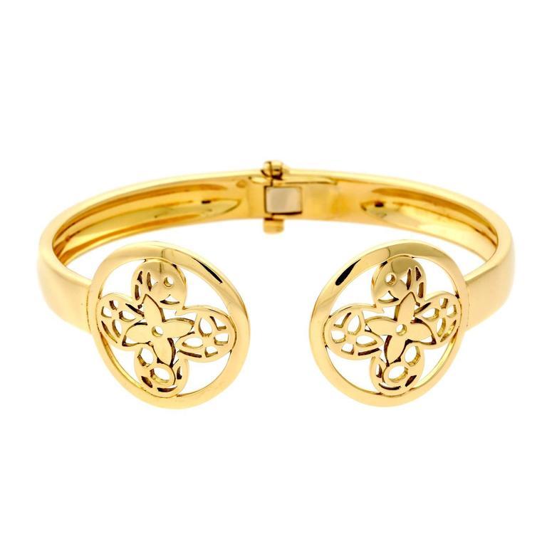 Louis Vuitton Monogram Gold Bangle Bracelet For