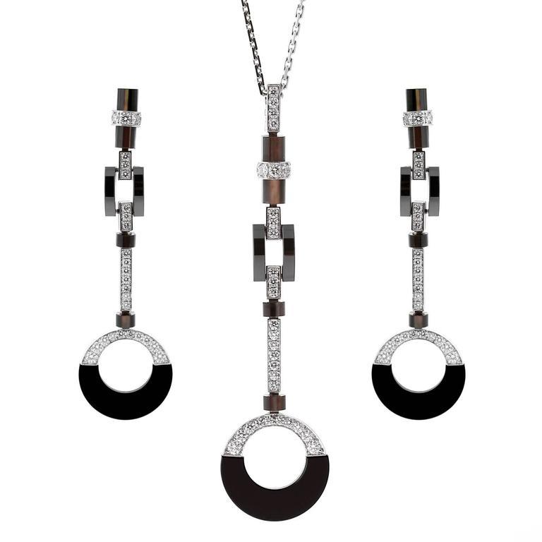 Cartier Diamond Black Ceramic Drop Necklace Suite