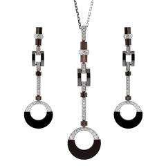 Cartier Diamond Black Ceramic Drop Necklace Suite