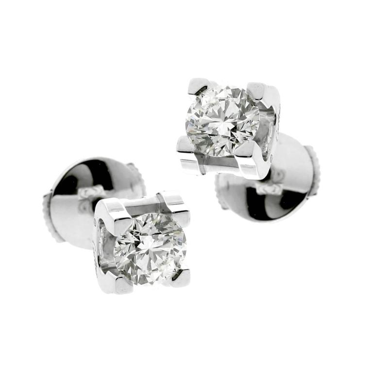 96915fc77 Cartier GIA Certified 1.20 Carat Diamond Stud Earrings at 1stdibs