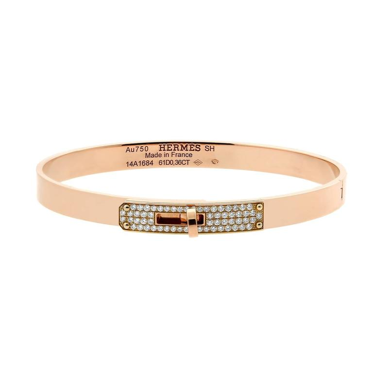 Hermes Kelly Diamond Rose Gold Bangle Bracelet 1