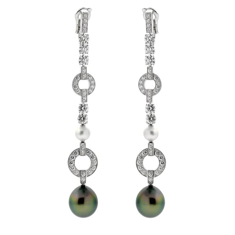 Cartier Himalia Pearl Diamond White Gold Earrings