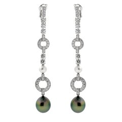Cartier Himalia Pearl Diamond White Gold Earrings