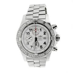 Breitling Stainless Steel Factory Diamond Bezel Super Avenger Wristwatch