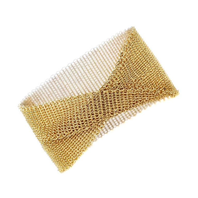 Tiffany Co Gold Mesh Bracelet For
