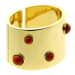 Fred of Paris Coral Gold Cuff Bracelet