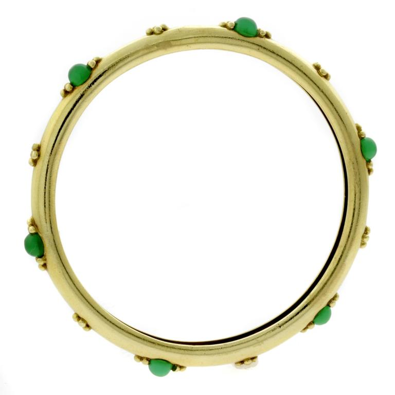 Boucheron Emerald Gold Bangle Bracelet