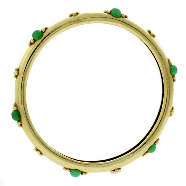 Boucheron Emerald Gold Bangle Bracelet