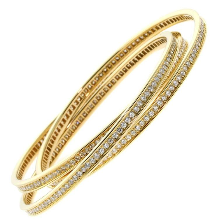 Cartier Trinity 6 45 Carat Full Diamond Gold Bangle Bracelet For