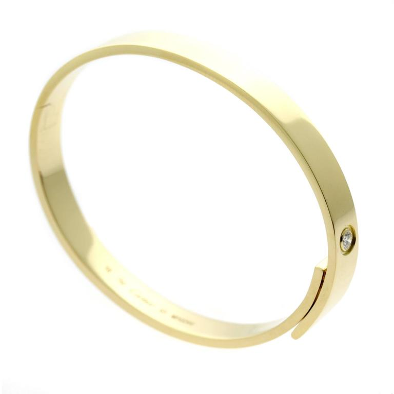 Cartier Anniversary Diamond Yellow Gold Bangle Bracelet For Sale