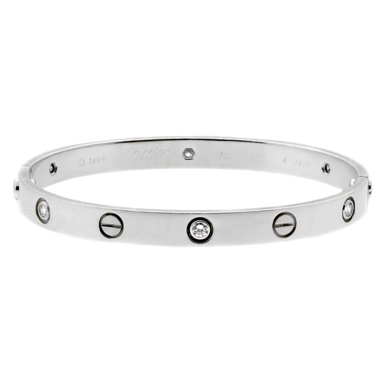 Cartier Love Six-Diamond White Gold Bangle Bracelet 1